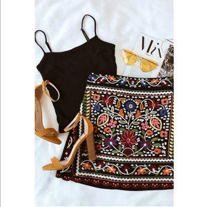 Lulu's Black Embroidered Mini Skirt